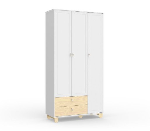 Guarda Roupa Rope com 3 Portas - Branco Soft/Natural - Matic