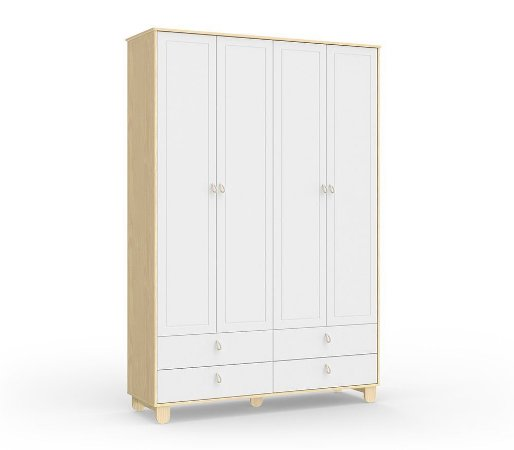 Guarda Roupa Rope com 4 Portas - Natural/Branco Soft - Matic