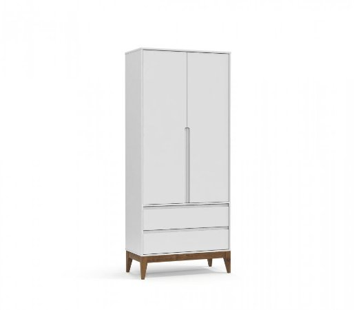 Guarda Roupa 2 Portas Nature Clean Eco Wood - Branco Soft - Matic
