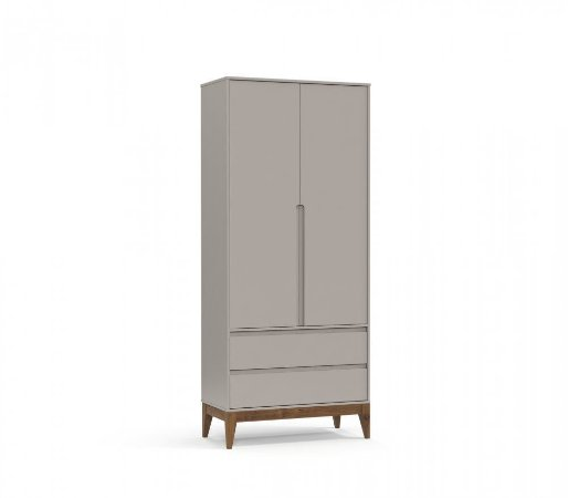 Guarda Roupa 2 Portas Nature Clean Eco Wood - Cinza - Matic