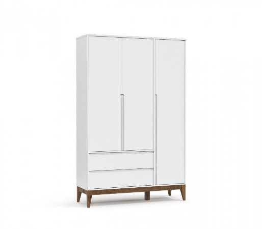 Guarda Roupa 3 Portas Nature Clean Eco Wood - Branco Soft - Matic