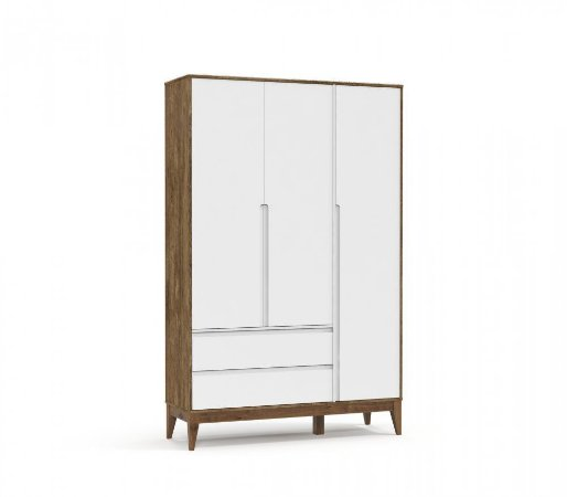 Guarda Roupa 3 Portas Nature Clean Eco Wood - Branco Soft/Teka - Matic