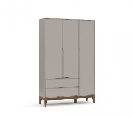Guarda Roupa 3 Portas Nature Clean Eco Wood - Cinza - Matic