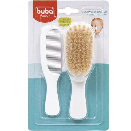 Escova e Pente Baby de Cerdas Naturais - Branco - Buba