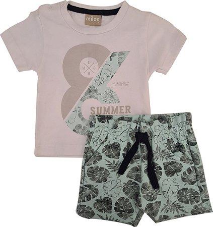 Conjunto Infantil Masculino Camiseta + Bermuda - Branco/Verde - Milon