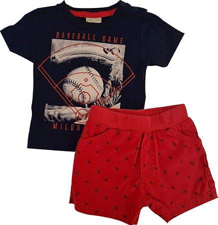 Conjunto Infantil Masculino Camiseta + Bermuda - Marinho/Vermelho - Milon