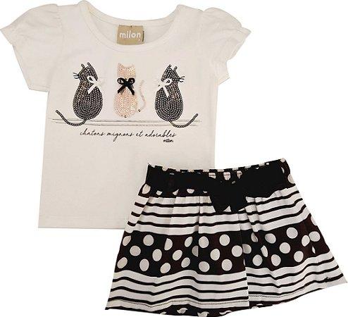 Conjunto Infantil Feminino Blusa + Shorts Saia - Gatinhos - Milon