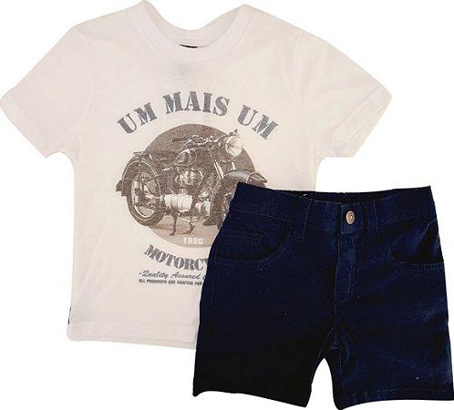 Conjunto Infantil Masculino Camiseta + Bermuda - Marinho - 1+1