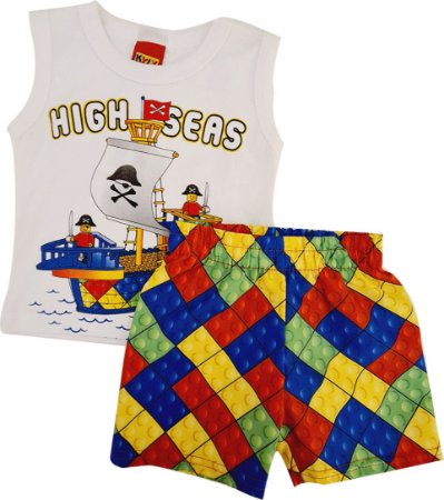 Conjunto Infantil Masculino Camiseta + Bermuda - Branco/Colorido - Kyly