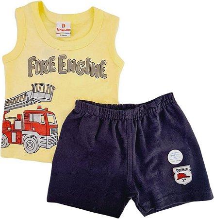 Conjunto Infantil Masculino Camiseta + Bermuda - Amarelo/Cinza - Brandili