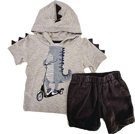 Conjunto Infantil Masculino Camiseta + Bermuda - Cinza - Puc
