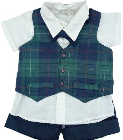 Conjunto Infantil Masculino Camisa + Colete + Gravatinha Borboleta + Bermuda - Xadrez - Roana