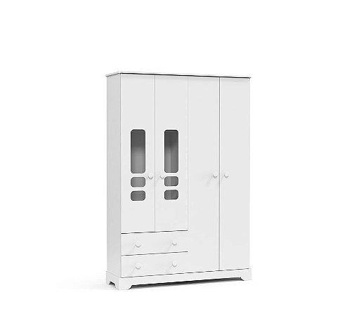 Guarda Roupa Smart 4 Portas - Branco Brilho - Matic