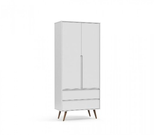 Guarda Roupa 2 Portas Retrô Clean Eco Wood - Branco Soft - Matic