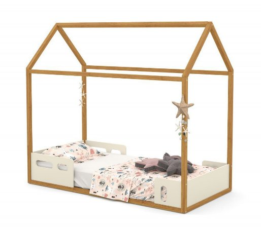 Cama Montessoriana Casinha Liv - Off White/Freijó - Matic