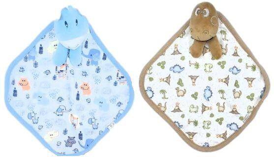Kit com 2 Naninhas Suedine  - Azul/Marrom - Anjos Baby