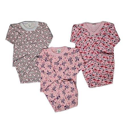 Kit com 3 Pijamas Infantil Feminino - Mafessoni