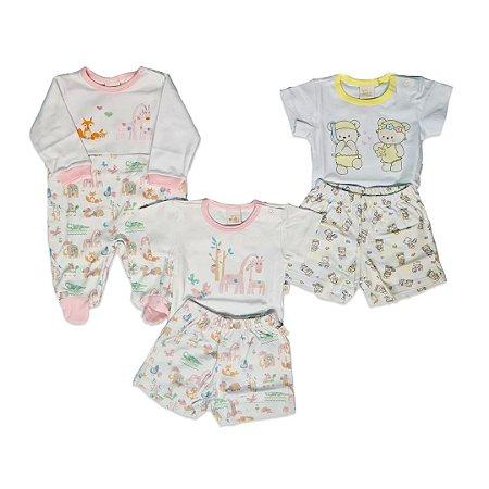 Kit 3 peças 1 Macacão + 2 Conjuntos Infantil Suedine - Anjos Baby