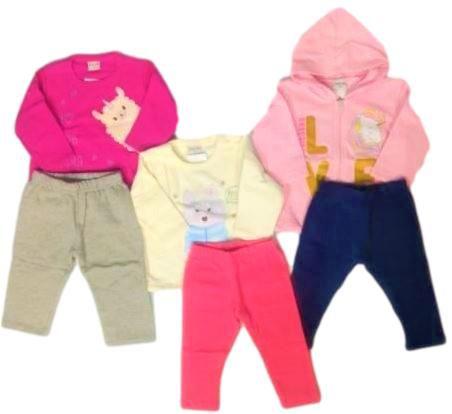 Kit com 3 Conjuntos Infantil Feminino Casaco + Calça - Fakini