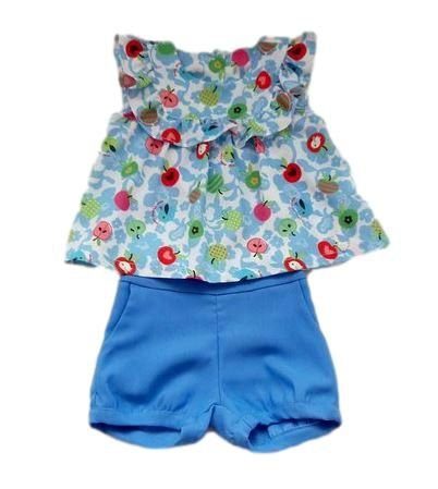 Conjunto Infantil Feminino - Azul - 1+1