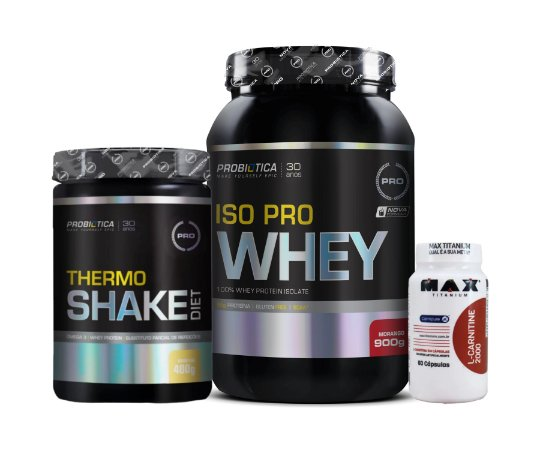 Kit Iso PRO Whey 900g + Thermo Shake 400g + L-Carnitine 2000