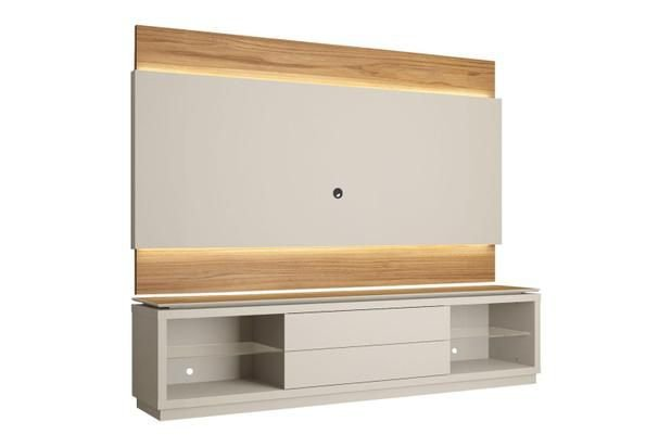 Rack Com Painel Provincia Lincoln Off White/Natural