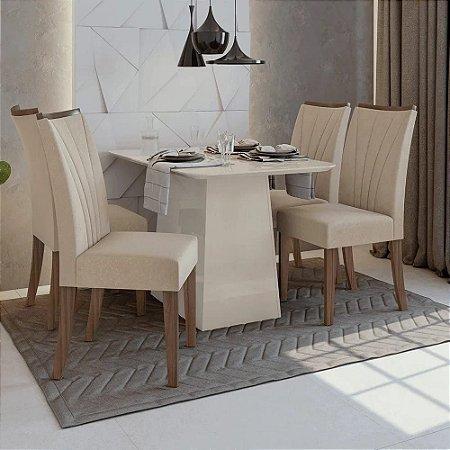 Conjunto de Mesa Nevada 4 Cadeiras Apogeu Off White/Naturale