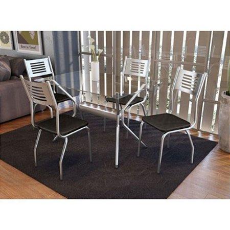 Conjunto de Mesa Loire C/4 Cadeiras Munique Cromado Kappesberg