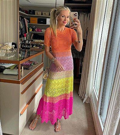 Vestido Midi Degradê Neon