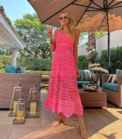 Vestido de Tricot Rosa Neon