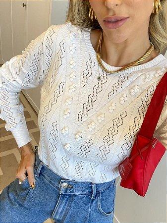 Blusa de Tricot Pérola Branca