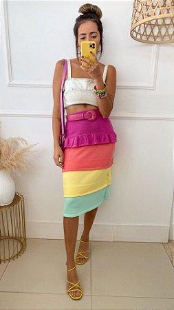 Saia Midi Rainbow Camadas