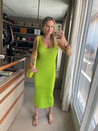 Vestido Tricot Rayon Verde Neon