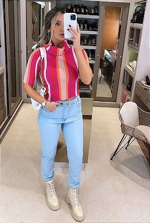 Blusa Listrada Neon