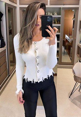 Blusa de Tricot Branca Desfiada