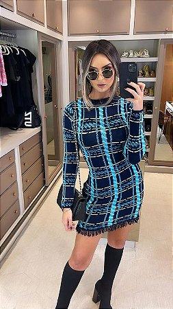Vestido de Tricot Bicolor Tiffany
