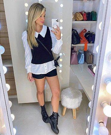 Camisa de Tricot Preta e Branca