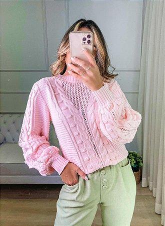 Blusa de Tricot Rosa Poá