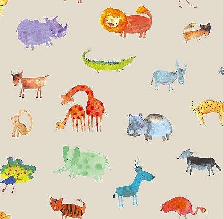 Papel de Parede Infantil de Safari Colorido