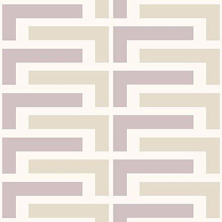 Papel de Parede Geométrico Lilás / Bege