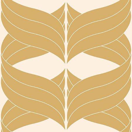 Papel de Parede Geométrico Bege / Dourado