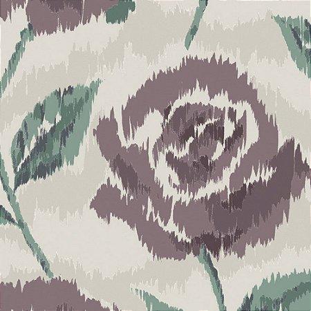 Papel de Parede Floral Bege / Roxo / Verde