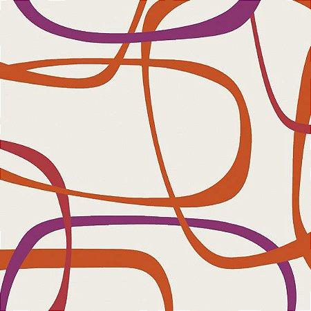 Papel de Parede Geométrico Laranja / Roxo / Bege