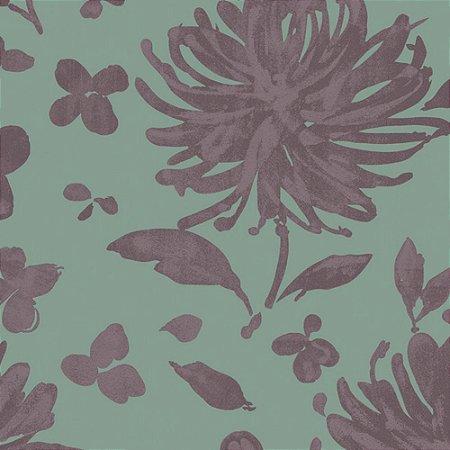Papel de Parede Floral Verde / Roxo