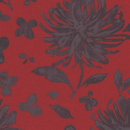 Papel de Parede Floral Cinza / Vermelho