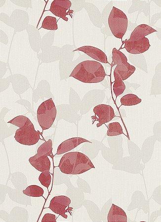 Papel de Parede de Folhas Vermelho / Cinza