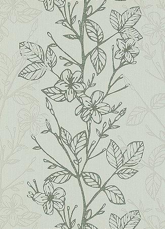 Papel de Parede com Folhagens Cinza / Verde
