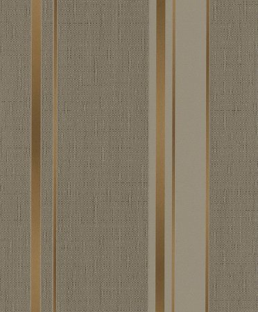 Papel de Parede de Listras Cinza / Dourado