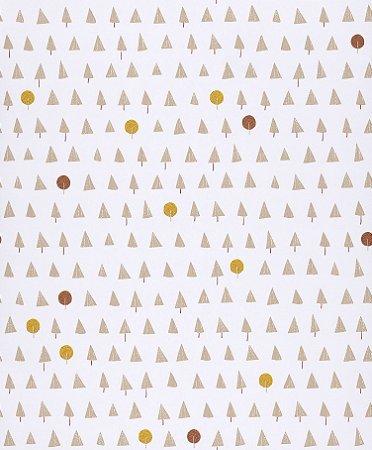 Papel de Parede Geométrico Árvores e Bolas Coloridos