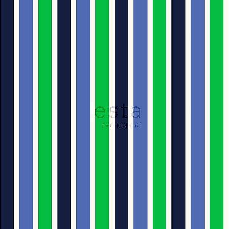 Papel de Parede Infantil Listrado Azul, Verde e Branco